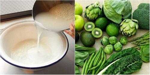 dùng nước vo gạo để rửa rau củ quả